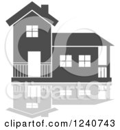 Clipart Of A Gray Residential Home And Reflection 3 Royalty Free Vector Illustration