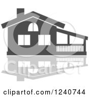 Clipart Of A Gray Residential Home And Reflection 4 Royalty Free Vector Illustration