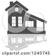 Clipart Of A Gray Residential Home And Reflection 5 Royalty Free Vector Illustration