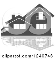 Clipart Of A Gray Residential Home And Reflection 6 Royalty Free Vector Illustration