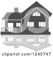 Clipart Of A Gray Residential Home And Reflection 7 Royalty Free Vector Illustration