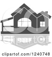 Clipart Of A Gray Residential Home And Reflection 8 Royalty Free Vector Illustration