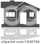 Clipart Of A Gray Residential Home And Reflection 9 Royalty Free Vector Illustration