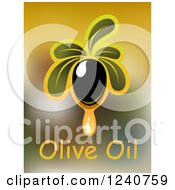 Clipart Of A Dripping Olive And Text Royalty Free Vector Illustration