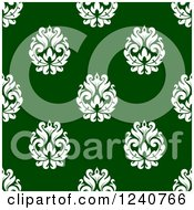 Clipart Of A Seamless Green And White Damask Background Pattern 28 Royalty Free Vector Illustration