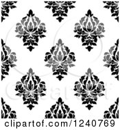 Clipart Of A Seamless Black And White Damask Background Pattern 28 Royalty Free Vector Illustration