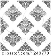 Clipart Of A Seamless Gray And White Damask Background Pattern Royalty Free Vector Illustration