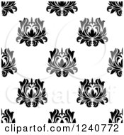 Clipart Of A Seamless Black And White Damask Background Pattern 29 Royalty Free Vector Illustration