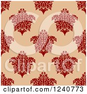 Clipart Of A Seamless Red And Tan Damask Background Pattern 10 Royalty Free Vector Illustration