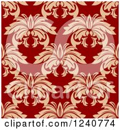 Clipart Of A Seamless Red And Tan Damask Background Pattern 8 Royalty Free Vector Illustration
