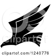 Clipart Of A Black And White Eagle In Flight 3 Royalty Free Vector Illustration
