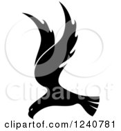 Clipart Of A Black And White Eagle In Flight 7 Royalty Free Vector Illustration