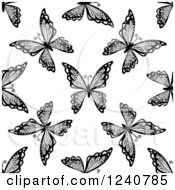 Clipart Of A Seamless Black And White Butterfly Background Pattern 4 Royalty Free Vector Illustration