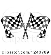 Clipart Of A Black And White Crossed Racing Checkered Flags 3 Royalty Free Vector Illustration