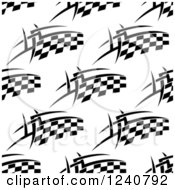 Clipart Of A Seamless Background Pattern Of Flaming Checkered Racing Flags 2 Royalty Free Vector Illustration