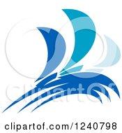 Clipart Of Regatta Sailboats In Blue 3 Royalty Free Vector Illustration
