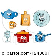 Clipart Of Happy Kitchen Dishes Characters Royalty Free Vector Illustration