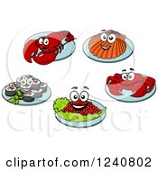 Clipart Of Happy Seafood On Plates Royalty Free Vector Illustration