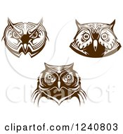 Clipart Of Brown Owl Faces Royalty Free Vector Illustration