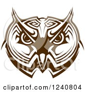 Clipart Of A Brown Owl Face 3 Royalty Free Vector Illustration