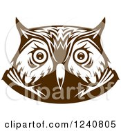 Clipart Of A Brown Owl Face 4 Royalty Free Vector Illustration