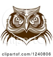Clipart Of A Brown Owl Face 5 Royalty Free Vector Illustration