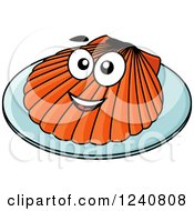 Clipart Of A Happy Scallop On A Plate Royalty Free Vector Illustration by Vector Tradition SM