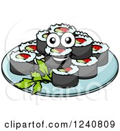 Clipart Of Happy Sushi On A Plate Royalty Free Vector Illustration