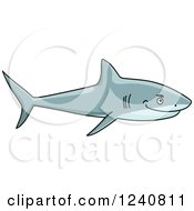 Clipart Of A Happy Shark Royalty Free Vector Illustration