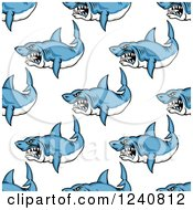 Clipart Of A Seamless Background Pattern Of Aggressive Sharks Royalty Free Vector Illustration