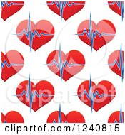 Clipart Of A Seamless Background Pattern Of Hearts And Beats Royalty Free Vector Illustration by Vector Tradition SM