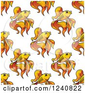Clipart Of A Seamless Background Pattern Of Fancy Goldfish Royalty Free Vector Illustration by Vector Tradition SM