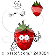 Clipart Of A Strawberry Character Royalty Free Vector Illustration