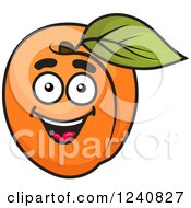 Clipart Of A Happy Apricot Royalty Free Vector Illustration