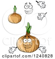 Clipart Of A Happy Onion Character Royalty Free Vector Illustration