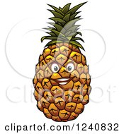 Clipart Of A Pineapple Character Royalty Free Vector Illustration