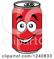 Clipart Of A Happy Soda Can Royalty Free Vector Illustration