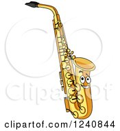 Clipart Of A Happy Saxophone Royalty Free Vector Illustration