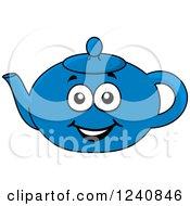 Clipart Of A Happy Blue Tea Pot Royalty Free Vector Illustration