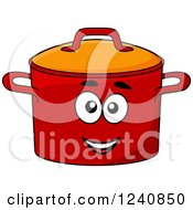 Clipart Of A Happy Red Pot Character Royalty Free Vector Illustration