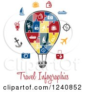 Clipart Of A Travel Infographics Jigsaw Puzzle Hot Air Balloon Royalty Free Vector Illustration by Vector Tradition SM