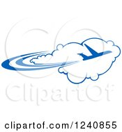 Clipart Of A Commercial Airliner Plane Over A Cloud Royalty Free Vector Illustration