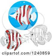 Clipart Of Black And White And Colored Butterflyfish Royalty Free Vector Illustration
