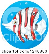 Clipart Of A Striped Red And White Butterflyfish In A Water Circle Royalty Free Vector Illustration