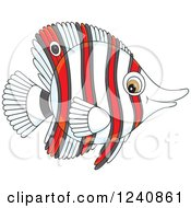 Clipart Of A Striped Red And White Butterflyfish Royalty Free Vector Illustration