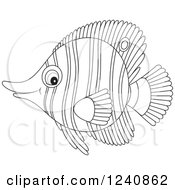 Clipart Of A Black And White Butterflyfish Royalty Free Vector Illustration