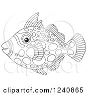 Clipart Of A Black And White Clown Triggerfish Royalty Free Vector Illustration