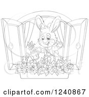 Clipart Of A Black And White Female Bunny Rabbit Watering A Window Flower Garden Royalty Free Vector Illustration