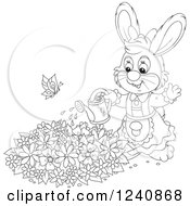 Clipart Of A Black And White Female Bunny Rabbit Watering A Flower Garden Royalty Free Vector Illustration