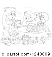 Clipart Of A Black And White Granny Serving An Easter Cake To Children Royalty Free Vector Illustration